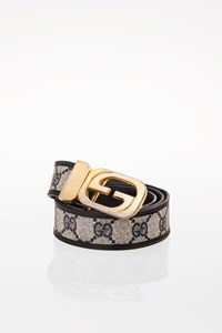 Gucci Leather and Logo Canvas Belt