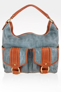 Marc Jacobs Grey-Blue Leather Hobo Bag with Tan Details