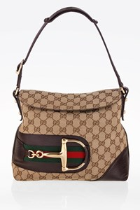 Gucci Beige GG Canvas Hasler Horsebit Flap Shoulder Bag