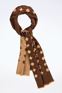 Louis Vuitton Beige-Brown Long Satin Double Sided Scarf
