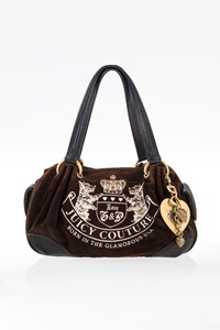 Juicy Couture Brown Velour Tote Bag with Metallic Charm
