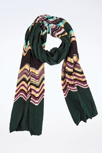 M Missoni Multicoloured Knitted Zig-Zag Pattern Scarf