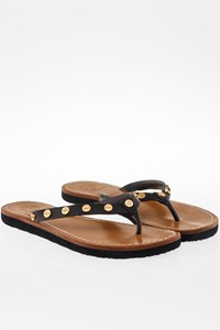Tory Burch Black Leather Sandals with Metallic Logo / Size: ? - Fit: 38.5