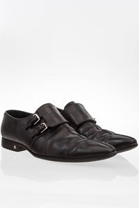 Louis Vuitton Black Embossed Damier Pattern Leather Monk Straps / Size: 7.5 - Fit: 41.5