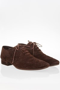 Louis Vuitton Brown Suede Perforated Broques / Size: 7 - Fit: True to size