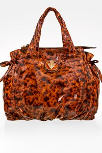 Gucci Hysteria Tortoise Shell Patent Leather Large Tote Bag