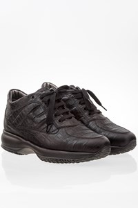 Hogan Black Interactive Sneakers with Embossed Leather / Size: 38.5- Fit: 39.5