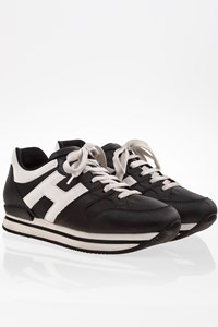 Hogan Black and White H222 Nuovo Sportivo Leather Sneakers / Size: 38.5- Fit: True to size