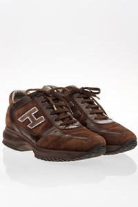 Hogan Brown Suede Interactive Sneakers with Patent Leather Details / Size: ? - Fit: 38.5