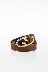 Gucci Brown Leather Belt with GG Buckle