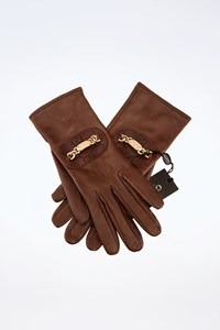 Gucci Brown Leather Gloves with Buckle