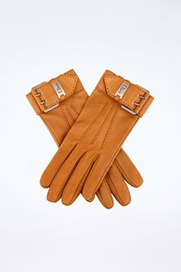 Dior Tan Leather Gloves with Buckle