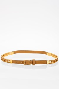 Prada Tan Leather and Gold Chain Belt