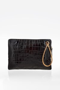 Lanvin Black Embossed Croco Effect Leather XL Clutch Bag