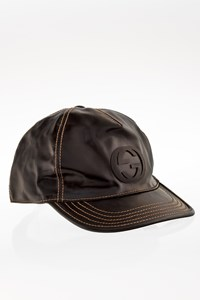 Gucci Black Patent Leather GG Baseball Hat