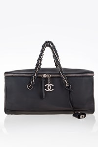 Chanel Blue Leather Zipped Tote - Shoulder Double Style Bag