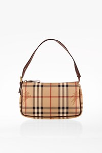 Burberry Haymarket Check Pochette with Brown Leather Details