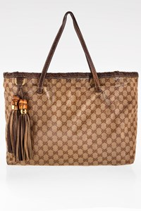 Gucci Beige GG Crystal Coated Canvas Bamboo Tassle Tote Bag