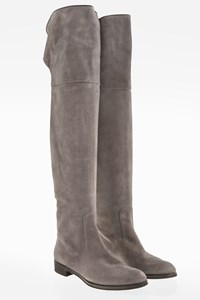 Gianvito Rossi Grey Suede Over The Knee Flat Boots / Size: 38 - Fit: 39