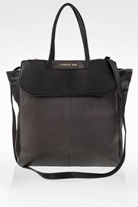 Cerruti 1881 Black-Grey Leather Tote Bag
