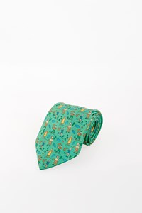 "Hermès Green Silk Tie with ""Farmers"""