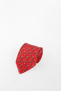 Hermès Red Silk Tie with Horse Riders Print
