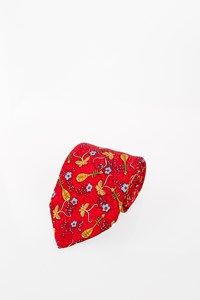 Hermès Red Silk Tie with Ukulele Print