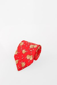 Hermès Coral Silk Tie with Shell Print