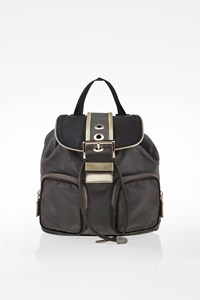 Prada Grey Nylon Mini Backpack with Patent Leather Details