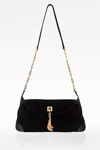 Gucci Black Suede Shoulder Bag with Chain