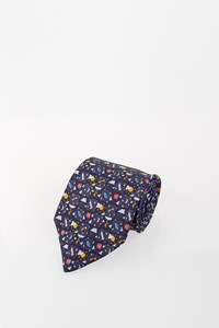 Hermès Blue Silk Tie with Print