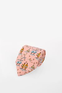 Hermès Pale Pink Silk Tie with African theme