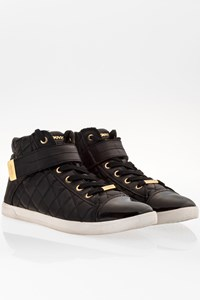 Dkny Black Quilted Leather High Top Sneakers / Size: 38.5 - Fit: True to size