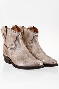 G di G Silver Leather Texan Ankle Boots / Size: 38 - Fit: 39