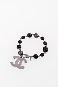 Chanel Silver Metallic CC Bracelet with Black Beads and Crystals