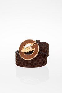 Gucci Brown Suede Belt with Logo Buckle