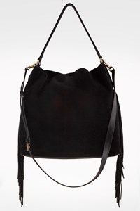 DVF Black Suede Nubuck Boho Fringed Bag