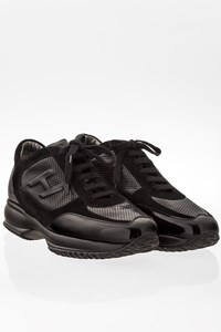 Hogan Black Interactive Suede and Patent Leather Sneakers / Size: 40 - Fit: 41