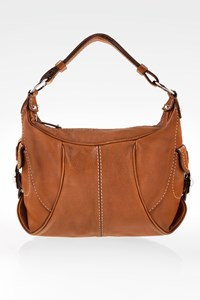 Tod's Brown Leather Shoulder Bag with Stitching