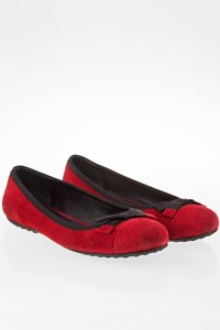 Car Shoe Burgundy Suede Ballerinas with Bow / Size: 36.5 - Fit: True to size (Loose)