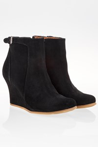 Lanvin Black Suede Wedge Booties / Size: 36 - Fit: True to size