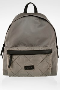 Moncler Grey Romeo Nylon Backpack with Leather Details