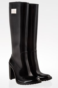 Armani Collezioni Black High Heel Wellington Boots / Size: 38 - Fit: 37.5