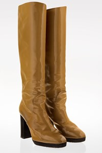 Bottega Veneta Camel Riding Patent Leather Boots / Size: 36.5 - Fit: True to size