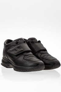Hogan Black Leather Interactive Sneakers with Velcro / Size: 37 - Fit: 38