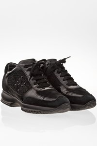 Hogan Black Interactive Suede and Patent Leather Sneakers / Size: 37 - Fit: 38
