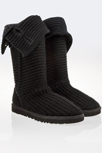 Ugg Black Classic Cardy Button Detailed Knit Boots / Size: 38 - Fit: True to size