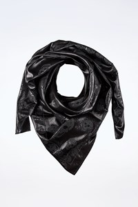 MCQ Black Metallic Silk Scarf with Skulls
