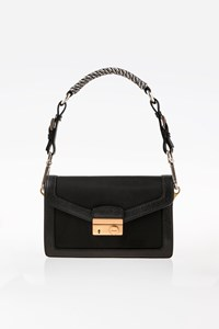 Prada Black Nylon-Leather Small Shoulder-Waist Bag with Tweed Strap