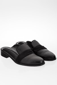 Zeus + Dione Black Leather Icarus Mules with Pony Hair / Size: 39 - Fit: Tight